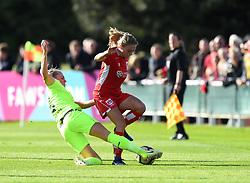 Megan Alexander of Bristol City Women is tackled - Mandatory by-line: Paul Knight/JMP - 20/05/2017 - FOOTBALL - Stoke Gifford Stadium - Bristol, England - Bristol City Women v Liverpool Ladies - FA Women's Super League Spring Series