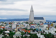 The city of Reykjavik at midnight, Iceland