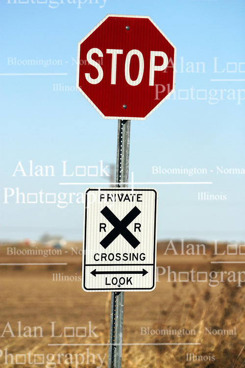 29 October 2006:  A rare sign in Central Illinois is posted at the entrance to a field that requires the farmer to cross a set of railroad tracks to reach. Rural McLean County, Illinois.<br />