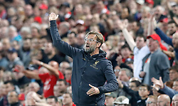 Liverpool manager Jurgen Klopp gestures on the touchline during the Carabao Cup, Third Round match at Anfield, Liverpool.