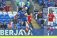 Cardiff City forward Kieffer More (10) competes for a high ball with Bristol City's Matty James (6) during the EFL Sky Bet Championship match between Cardiff City and Bristol City at the Cardiff City Stadium, Cardiff, Wales on 28 August 2021.