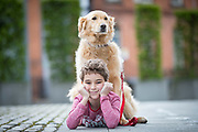 NO FEE PICTURES                                                                                                                                            9/5/19 Eoin Carroll, age 9 with Teddy the retriever at the launch of Ireland's favourite animal friendly event, Pets in the City, which will take place in Dublin's Smithfield Square on Sunday May 19th from 1130am to 430pm. Picture: Arthur Carron