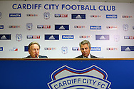 Neil Warnock (l) is pictured with Cardiff city chairman Mehmet Dalman ® as he is officially announced as the new Cardiff city manager at a press conference at the Cardiff city Stadium in Cardiff, South Wales on Thursday 6th October 2016.  pic by Andrew Orchard, Andrew Orchard sports photography