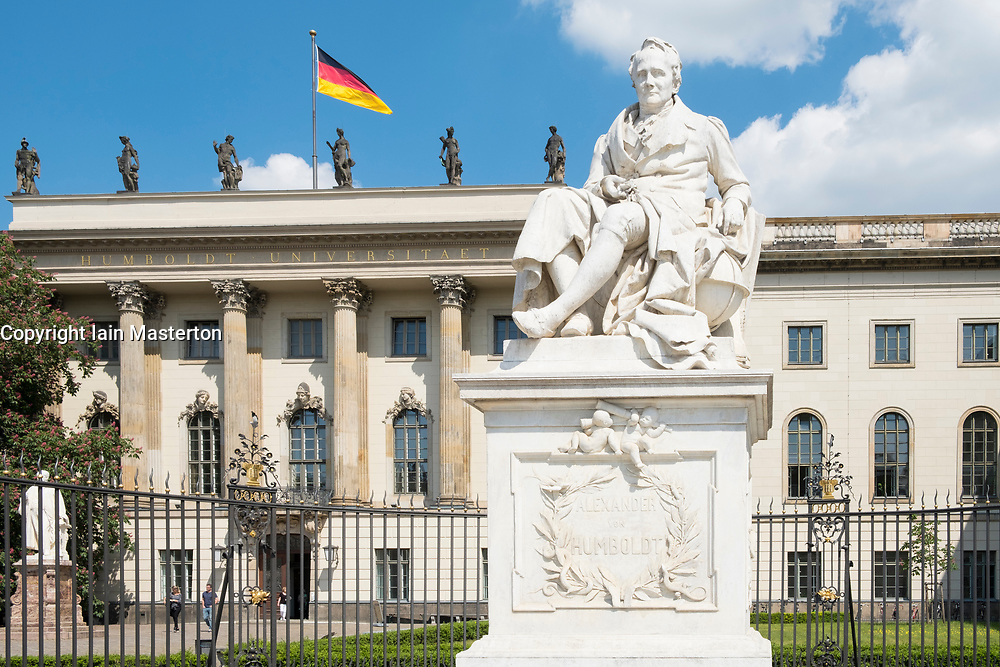 Statue of Alexander von Humboldt at Humboldt University in Berlin Germany