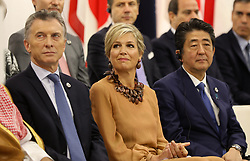 """Mauricio Macri (Argentina's President), Queen Maxima of the Netherlands, Shinzo Abe (Japanese Prime Minister) - Side event organized by the Japanese Prime Minister, on the theme """"Promoting the place of women at work"""" at the Intex Osaka congress center at the G20 summit in Osaka, Japan, on June 29, 2019. Photo by Dominque Jacovides/Pool/ABACAPRESS.COM"""