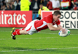 © SPORTZPICS/ Seconds Left Images 2011 - Wales' Shane Williams dives over to score a breakaway try for Wales - Wales v Australia - Rugby World Cup 2011 - Bronze Final - Eden Park - Auckland - New Zealand - 21/10/2011 -  All rights reserved..