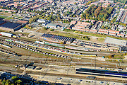 Nederland, Utrecht, Amersfoort, 28-10-2014; Soesterkwartier, spoorweg emplacement Amersfoort,  met rangeerterrein en gebouwen van de Wagenwerkplaats.<br /> Railway yard Amersfoort, with yard and workshop buildings.<br /> luchtfoto (toeslag op standard tarieven);<br /> aerial photo (additional fee required);<br /> copyright foto/photo Siebe Swart