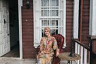 Nilhan Osmanoglu outside her shop and cafe, Nilhan Sultan Kosku, on the Asian side of Istanbul, Turkey.