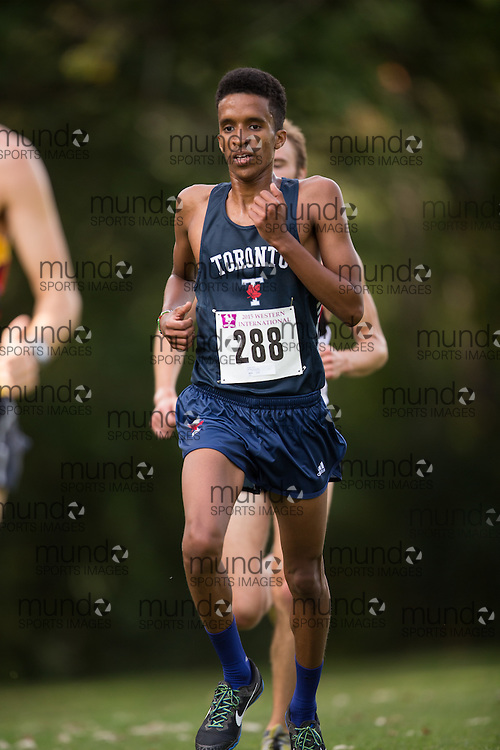 Galan Yousuf of the Toronto Varsity Blues (288) competes in the men's 8k  at the 2015 Western International Cross country meet in London Ontario, Saturday,  September 26, 2015.<br /> Mundo Sport Images/ Geoff Robins