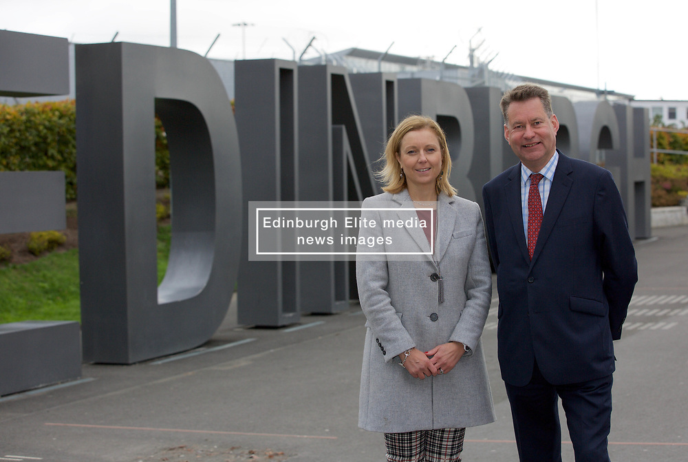 Scottish Conservatives finance spokesman Murdo Fraser with Rachael Hamilton, party spokeswoman on culture and tourism at Edinburgh Airport, where they called for a cut in air departure tax. pic copyright Terry Murden @edinburghelitemedia