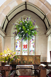 Church flower arrangement. Finished globe with flowers