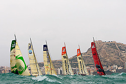 © Sander van der Borch.Alicante, 11 October 2008. Start of the Volvo Ocean Race. Puma and Ericsson 4 lead the fleet at the start of the first leg to Capetown