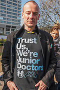 Dr Paul Robinson a CT2 in Emergency medecine -  The picket line at St Thomas' Hospital. Junior Doctors stage a 7 day all out strike action, this time imncluding accident and emergency coverage. They are striking against the new contracts due to be imposed by the Governemnt and health minister Jeremy Hunt. They are supported by the British Medical Association.