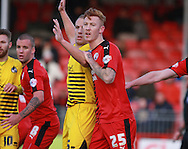 Crawley Town defender Josh Yorweth gets to grips with Bristol Rovers defender Mark McChrystal during the Sky Bet League 2 match between Crawley Town and Bristol Rovers at the Checkatrade.com Stadium, Crawley, England on 21 November 2015. Photo by Bennett Dean.