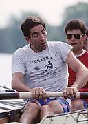 Molesey, Great Britain. GBR M4+ stroke man Gavin STEWART. 1992 British International Rowing Training on the Molesey Reach, Surrey,  [Mandatory Credit. Peter Spurrier/Intersport Images] +1992 +Molesey +Henley 1992 GBRowing Training, Molesey/Henley, United Kingdom