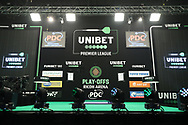 The main stage during the Unibet Premier League Play-Offs at the Ricoh Arena, Coventry, England on 15 October 2020.