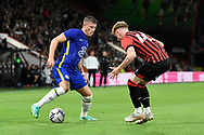 Ross Barkley (8) of Chelsea battles for possession with Ben Greenwood (43) of AFC Bouremouth during the Pre-Season Friendly match between Bournemouth and Chelsea at the Vitality Stadium, Bournemouth, England on 27 July 2021.