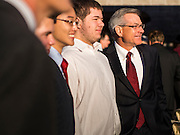 09 NOVEMBER 2013 - PHOENIX, AZ:  US Representative DAVID SCHWEIKERT (R-AZ), right, poses for photos with high school students from his district in front of his district office in Scottsdale. Congressman Schweikert represents Arizona's 6th Congressional District. Most of the district is in Scottsdale, a wealthy suburb of Phoenix and one of the wealthiest cities in the United States. Schweikert is a staunch conservative and popular with the Tea Party. He supported the government shutdown in October.    PHOTO BY JACK KURTZ