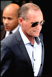 Former England footballer Paul Gascoigne leaving  Stevenage Magistrates Court in Hertfordshire, Monday, 5th August 2013, after being charged of assault and being drunk and disorderly at Stevenage Train station on July 4th 2013.<br /> Picture by Andrew Parsons / i-Images