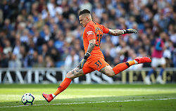 Manchester City goalkeeper Ederson during the Premier League match at the AMEX Stadium, Brighton