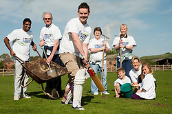 NatWest Staff memebers and family were on hand at Drax Cricket Club, Yesterday (Sunday 10 April 2011) to help with a clean up and  restoration ready for the start of the cricket season. Standing from left to right are Pave Kamal, Eric Mills,David Ellis, Helen Williamson, Nicola Stanley and Davids Children Luke and Charlotte Ellis and Heidi Hughes . help out at Drax Cricket Club..10 April 2011.Images © Paul David Drabble
