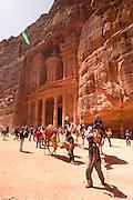 Middle East, Jordan, Petra, UNESCO World Heritage Site. The facade of the Treasury (El Khazneh)