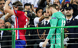 Filipe Luís of Atlético and Jan Oblak of Atlético during medal ceremony after the football match between Real Madrid (ESP) and Atlético de Madrid (ESP) in Final of UEFA Champions League 2016, on May 28, 2016 in San Siro Stadium, Milan, Italy. Photo by Vid Ponikvar / Sportida
