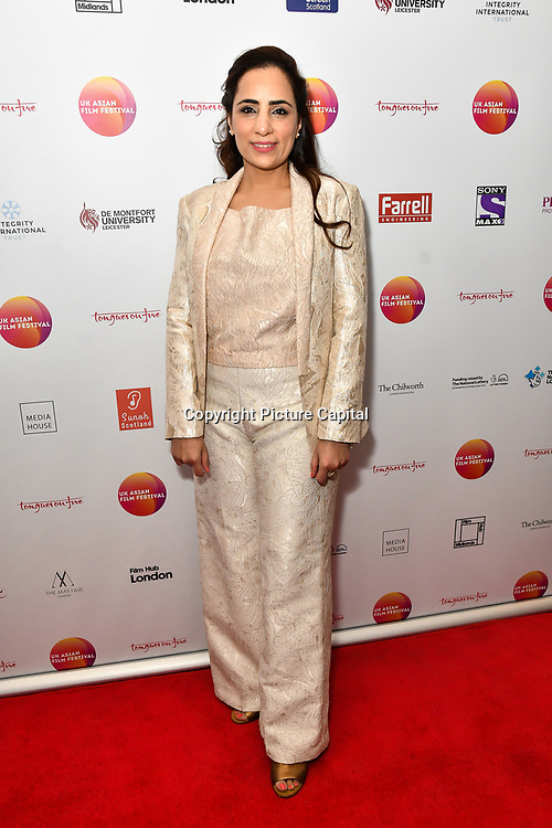 Shazia Ali Khan is a director of Pinky Memsaab attends the UK Asian Film Festival closing flame awards gala - Red Carpet at BAFTA 195 Piccadilly, on 7 April 2019, London, UK