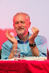 """© Licensed to London News Pictures. 13/08/2015.<br /> <br /> Pictured: UK LABOUR leadership front runner Jeremy Corbyn has held a rally followed by a question and answer session at Aberdeen's Arts Theatre Centre , Scotland on 13 August 2015 . <br /> <br /> The leadership race has entered the final month before members decide whether they want Jeremy Corbyn, Yvette Cooper, Andy Burnham or Liz Kendall to be the new leader.<br /> <br /> He said:  """"This campaign is about spreading a message of hope – an anti-austerity, public investment for prosperity movement is under way.""""<br /> <br /> Photo credit should read Max Bryan/LNP."""