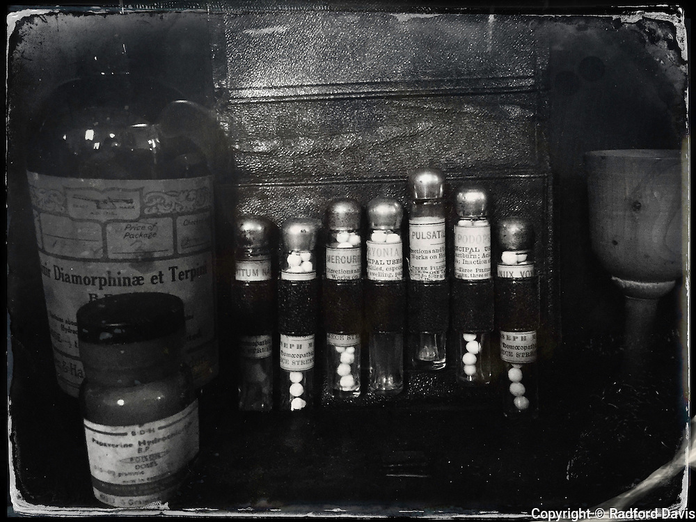 Apothecary at the National Botanic Garden of Wales. Black and white.