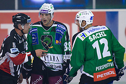 Matt Higgins (HDD Tilia Olimpija, #88) and Petr Sachl (HDD Tilia Olimpija, #12) talking to the referee at 1st Round ice hockey match of EBEL league between HDD Tilia Olimpija and EV Vienna Capitals, on September 10, 2010, in Hala Tivoli, Ljubljana, Slovenia. (Photo by Matic Klansek Velej / Sportida)