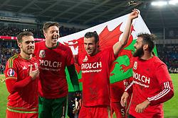Aaron Ramsey of Wales, Wayne Hennessey of Wales, Gareth Bale of Wales and Joe Ledley celebrate qualifying for the European Championship 2016 - Mandatory byline: Dougie Allward/JMP - 07966 386802 - 13/10/2015 - FOOTBALL - Cardiff City Stadium - Cardiff, Wales - Wales v Andorra - European Qualifier 2016 - Group B