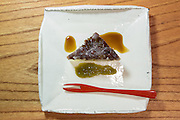 Minazuki (azuki beans, black sugar jelly and green plum puree) at Kajitsu, 125 E. 39th St., New York.