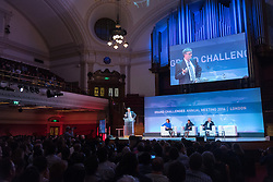 "© Licensed to London News Pictures. 26/10/2016. BILL GATES makes a keynote speech at the Joint Session Grand Challenges and Keystone Symposia ""Translational Vaccinology in Global Health"" conferences, October 26, 2016, London, UK."" London, UK. Photo credit: Ray Tang/LNP"