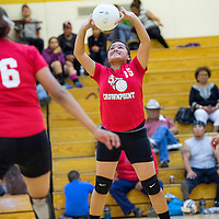 092613       Cable Hoover<br /> <br /> Crownpoint Eagle Angie Torres (15) sets up a shot on the Tohatchi Cougars Thursday at Tohatchi High School.