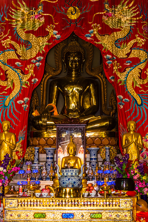 A Buddha statue. Yuantong Temple is the most famous Buddhist temple in Kunming, Yunnan Province, China. It was first built in the late 8th and early 9th century, the time of the Nanzhao Kingdom in the Tang dynasty.