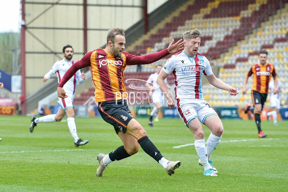 Charles Vernam Shot during the EFL Sky Bet League 2 match between Bradford City and Scunthorpe United at the Utilita Energy Stadium, Bradford, England on 1 May 2021.
