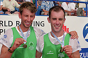 St Catherines, CANADA,  Men's Lightweight Pair IRL LM2-. Neville MAXWELL and Tony O'CONNOR, competing at the 1999 World Rowing Championships - Martindale Pond, Ontario. 08.1999..[Mandatory Credit; Peter Spurrier/Intersport-images]   ...St Catherines, CANADA,  Men's Lightweight Pair IRL LM2-. Neville MAXWELL and Tony O'CONNOR, competing at the 1999 World Rowing Championships - Martindale Pond, Ontario. 08.1999..[Mandatory Credit; Peter Spurrier/Intersport-images]   .   ... 1999 FISA. World Rowing Championships, St Catherines, CANADA