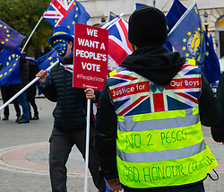 Pro-Brexit campaigner James Goddard in his yellow jacket once again visits and attempts to disrupt Steve Bray's SODEM anti-Brexit protest the day after he was seen harassing former cabinet minister Anna Soubry. Westminster, London, December 20 2018.