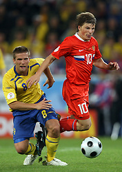 Anders Svensson of Sweden (8) and Andrei Arshavin of Russia (10) during the UEFA EURO 2008 Group D soccer match between Sweden and Russia at Stadion Tivoli NEU, on June 18,2008, in Innsbruck, Austria. Russia won 2:0. (Photo by Vid Ponikvar / Sportal Images)