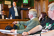 Bob Crow, RMT Secretary speaking to members of the Trade Union Coordinating Group meeting in room 14 at the House of Commons , London.