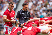 Twickenham, Surrey, World Cup, Sunday, Sunday, 11/08/2019  2019 World Cup, Warm up match, Quilter International, England vs Wales, at the RFU Stadium  [© Peter SPURRIER/Intersport Image]<br /> <br /> 14:09:34 left, Gareth Anscombe of Wales and referee, Referee, Mathieu Raynal (France)