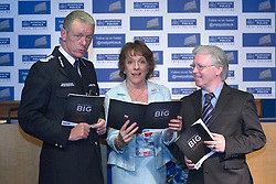 © licensed to London News Pictures. London, UK 15/06/2012. Metropolitan Police Commissioner Bernard Hogan-Howe, broadcaster Esther Rantzen and CEO of Action on Elder Abuse Gary Fitzgerald  launching The Little Book of Big Scams, today at News Scotland Yard. Photo credit: Tolga Akmen/LNP