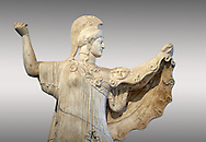 Roman statue of goddes Athena from the tablinum of the Villa of the Papyri in Herculaneum, Museum of Archaeology, Italy, grey background ..<br /> <br /> If you prefer to buy from our ALAMY STOCK LIBRARY page at https://www.alamy.com/portfolio/paul-williams-funkystock/greco-roman-sculptures.html . Type -    Naples    - into LOWER SEARCH WITHIN GALLERY box - Refine search by adding a subject, place, background colour, etc.<br /> <br /> Visit our ROMAN WORLD PHOTO COLLECTIONS for more photos to download or buy as wall art prints https://funkystock.photoshelter.com/gallery-collection/The-Romans-Art-Artefacts-Antiquities-Historic-Sites-Pictures-Images/C0000r2uLJJo9_s0