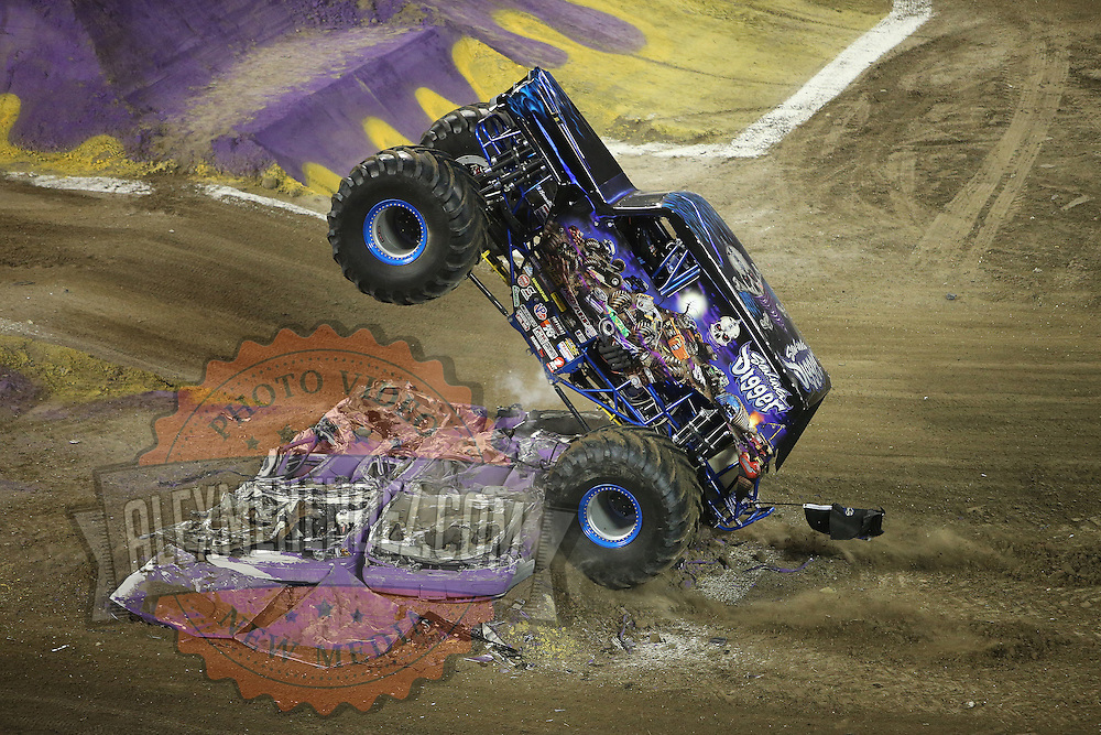 Son-uva Digger driven by Ryan Anderson is seen during the Monster Jam big truck event at the Citrus Bowl in Orlando, Florida on Saturday, January 25, 2014. (AP Photo/Alex Menendez)