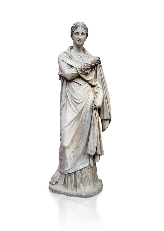 Ancient Greek funerary statue of a women, type Small Herculaneum Woman style. From Delos circa 2nd Cent BC. Athens National Archaeological Museum. Cat No 1827, Against white, <br /> <br /> This marble statue from Delos shopws a women wearing a full length chiton and a himation that covers her entire body and arms. This style of statue is known os 'Small Herculaneum Woman' and is a copy of a famous original dating from 300 BC. .<br /> <br /> If you prefer to buy from our ALAMY STOCK LIBRARY page at https://www.alamy.com/portfolio/paul-williams-funkystock/greco-roman-sculptures.html . Type -    Athens    - into LOWER SEARCH WITHIN GALLERY box - Refine search by adding a subject, place, background colour, etc.<br /> <br /> Visit our ROMAN WORLD PHOTO COLLECTIONS for more photos to download or buy as wall art prints https://funkystock.photoshelter.com/gallery-collection/The-Romans-Art-Artefacts-Antiquities-Historic-Sites-Pictures-Images/C0000r2uLJJo9_s0