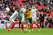 Fedor Cernych of Lithuania trying to find a way through during the FIFA World Cup Qualifier group stage match between England and Lithuania at Wembley Stadium, London, England on 26 March 2017. Photo by Matthew Redman.
