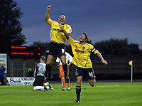 Picture: Henry Browne.<br /> Date: 11/08/2004.<br /> Oxford United v Mansfield Town Coca Cola Division Two.<br /> <br /> Tommy Mooney celebrates with Lee Bradbury after scoring the first goal for Oxford.<br /> <br /> NORWAY ONLY