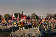 American flags marking millitary graves in Mount Calvary Cemetery on 28th February 2020 in Eunice, Louisianna, United States. Beginning in August the American flags have multiplied at Mount Calvary Cemetery on U.S. 190 east of Eunice. The flags are the result of a project began by Dale Sittig, who prepared placements for the flag poles. Robert Feutch, cemetery owner, said there are 158 flags at the grave sites of veterans at the cemetery.