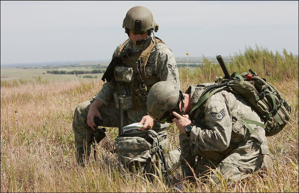 A single group of troops training at the Smokey Hill Air National Guard Range.